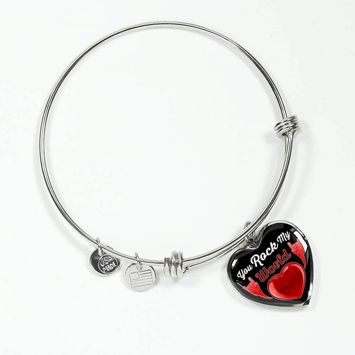 cool faith you rock my world bangle bracelet