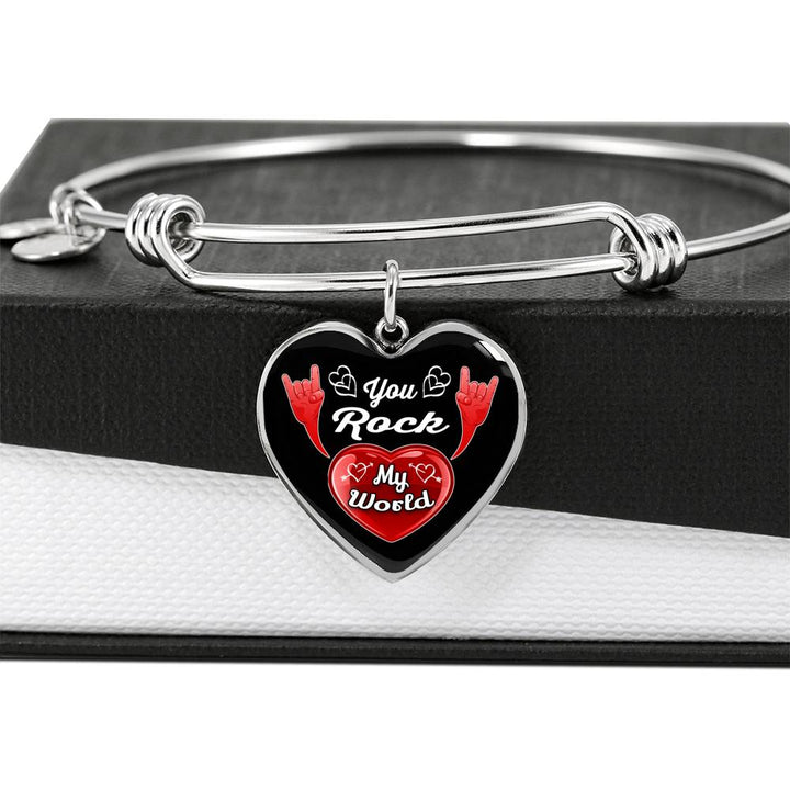 cool love you rock my world bangle bracelet
