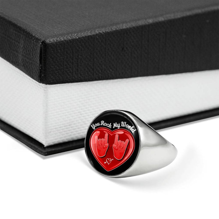 cool hope you rock my world signet ring