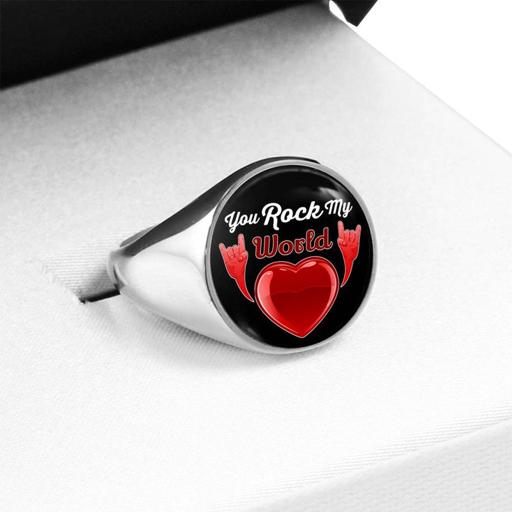 Faith You Rock My World Signet Ring