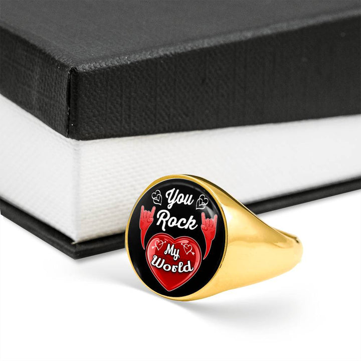 cool love you rock my world signet ring