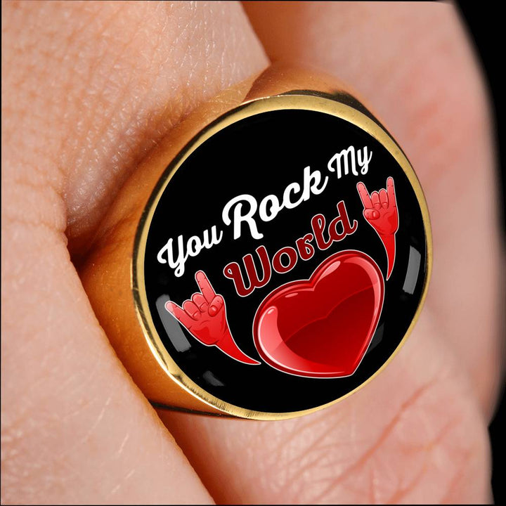 cool faith you rock my world signet ring