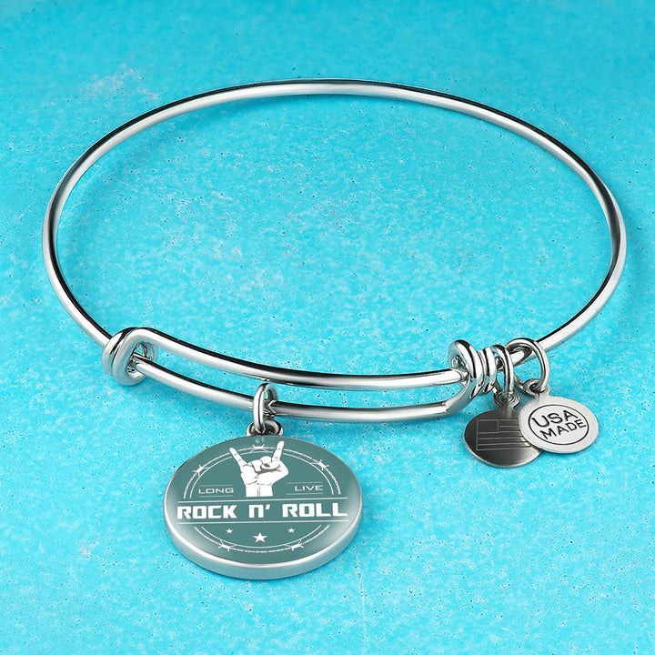 Midnight Long Live Rock And Roll Teal Bangle Bracelet