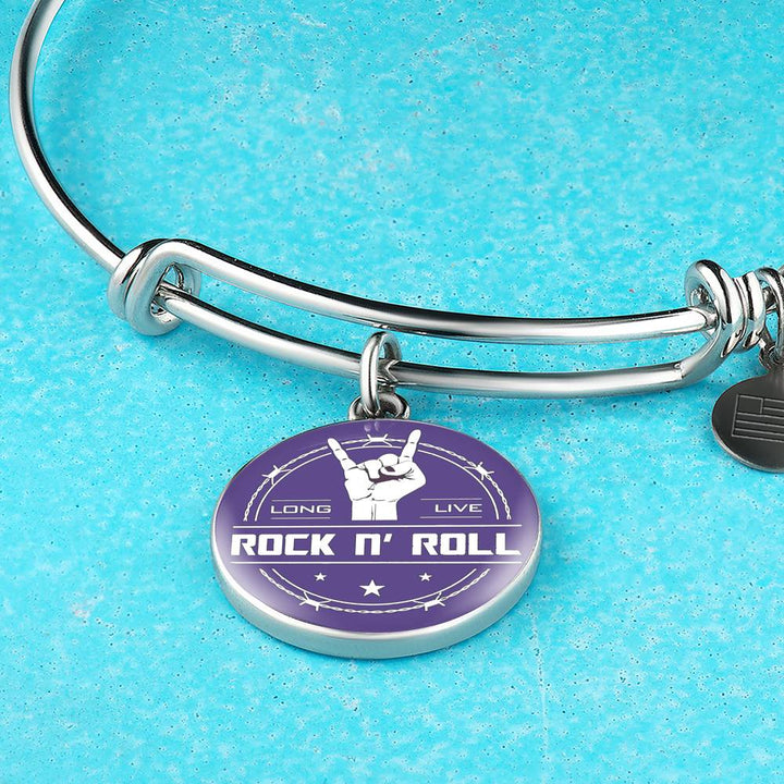 Midnight Long Live Rock And Roll Purple Bangle Bracelet