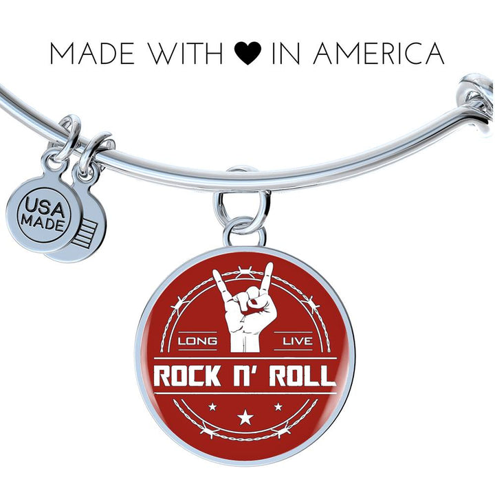 cool long live rock and roll red bangle bracelet