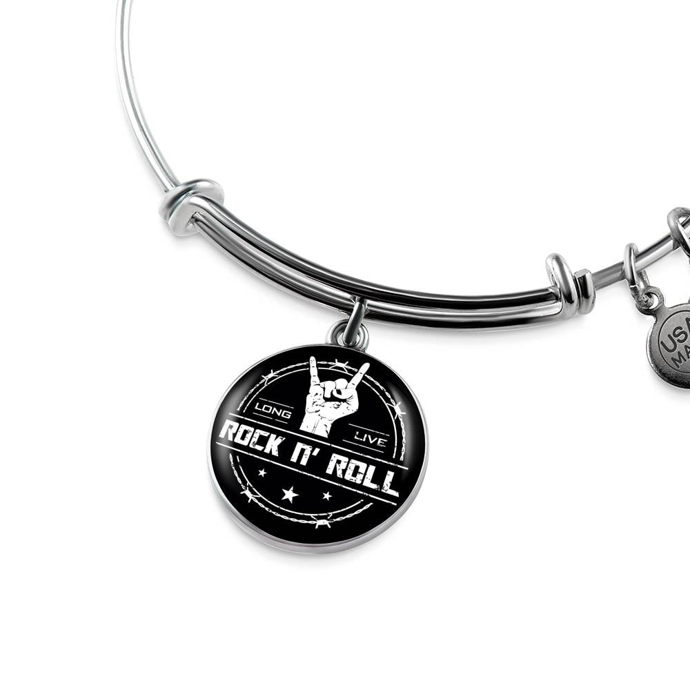 cool long live rock and roll bangle bracelet