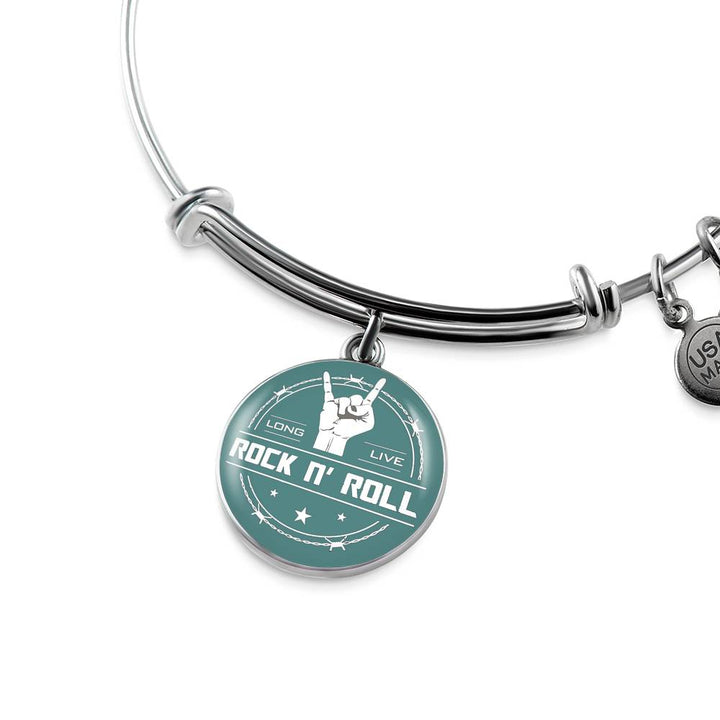 cool long live rock and roll teal bangle bracelet