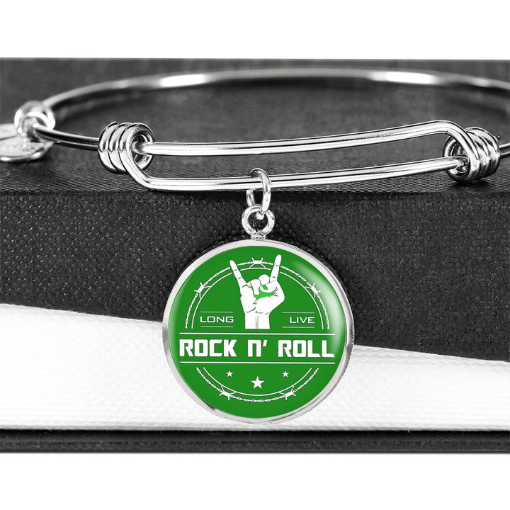cool long live rock and roll green bangle bracelet