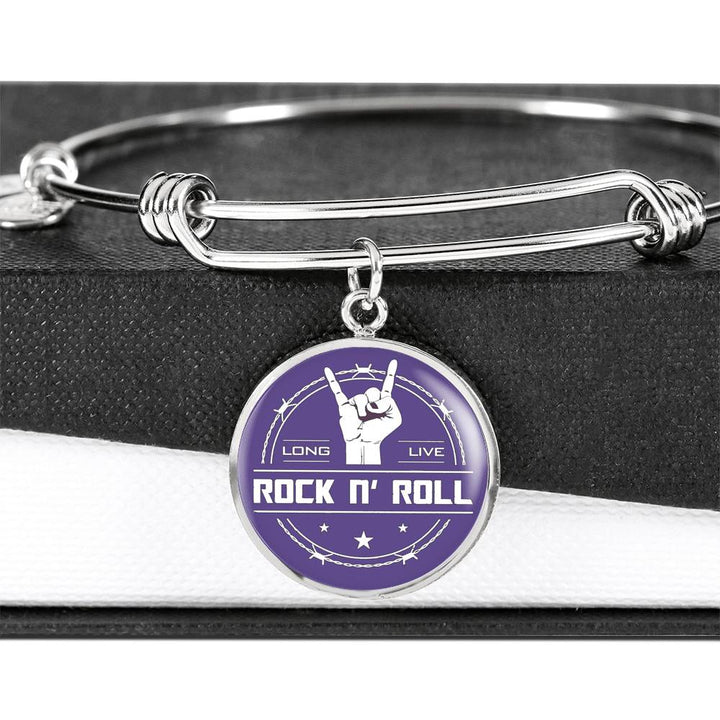 cool long live rock and roll purple bangle bracelet