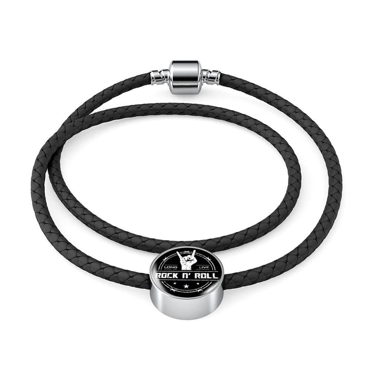 cool long live rock and roll leather charm bracelet