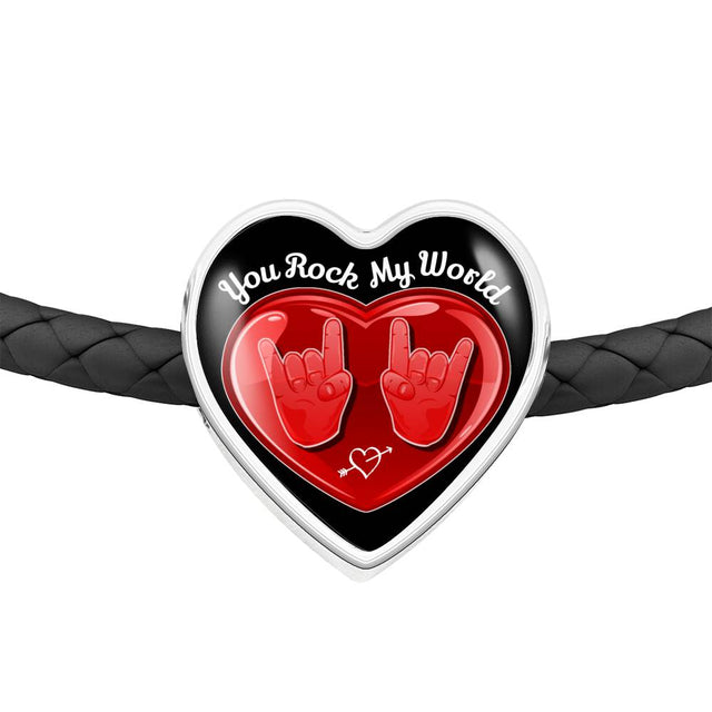 cool hope you rock my world leather heart charm bracelet