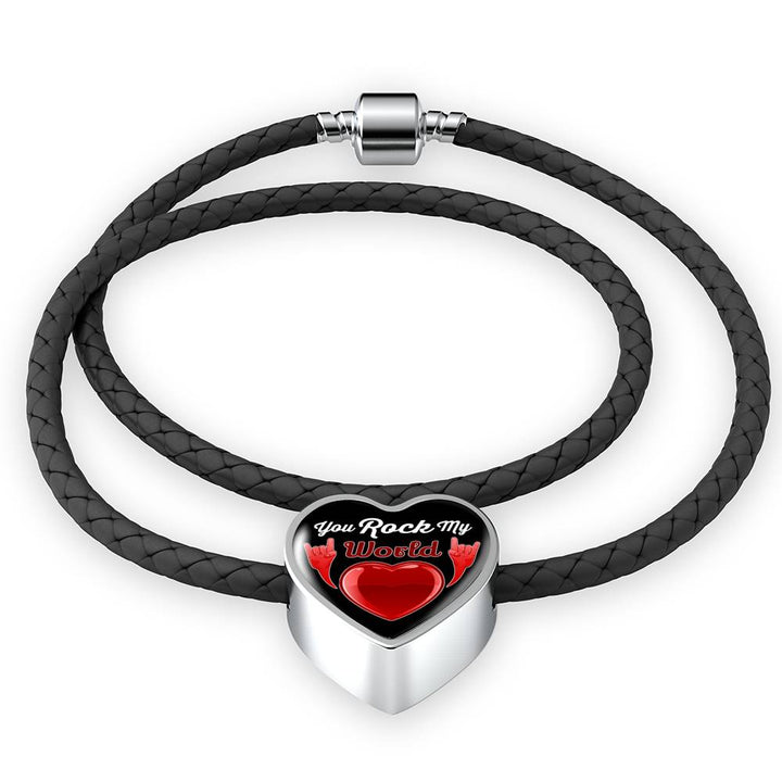 cool faith you rock my world leather heart charm bracelet