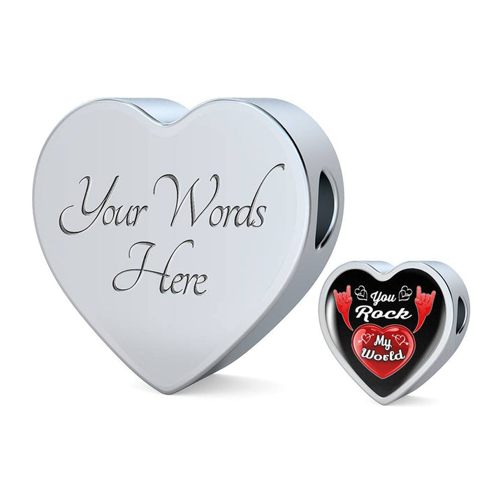 cool love you rock my world leather heart charm bracelet