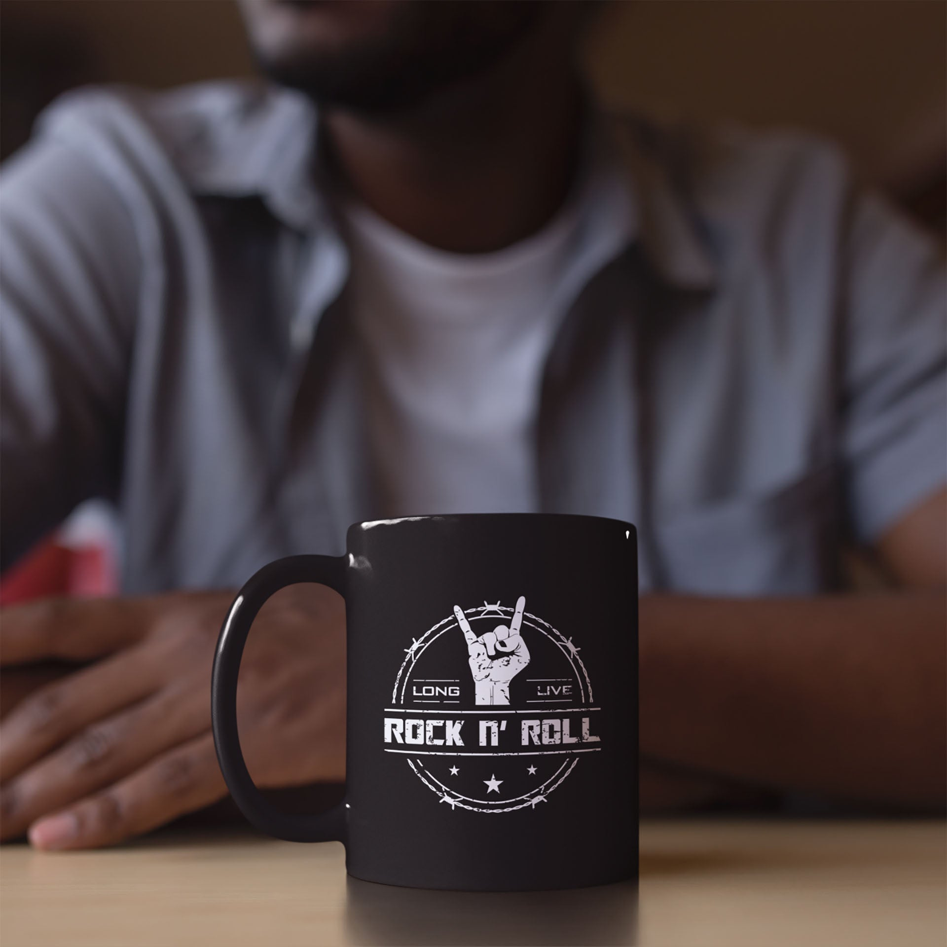 cool long live rock and roll black coffee mug