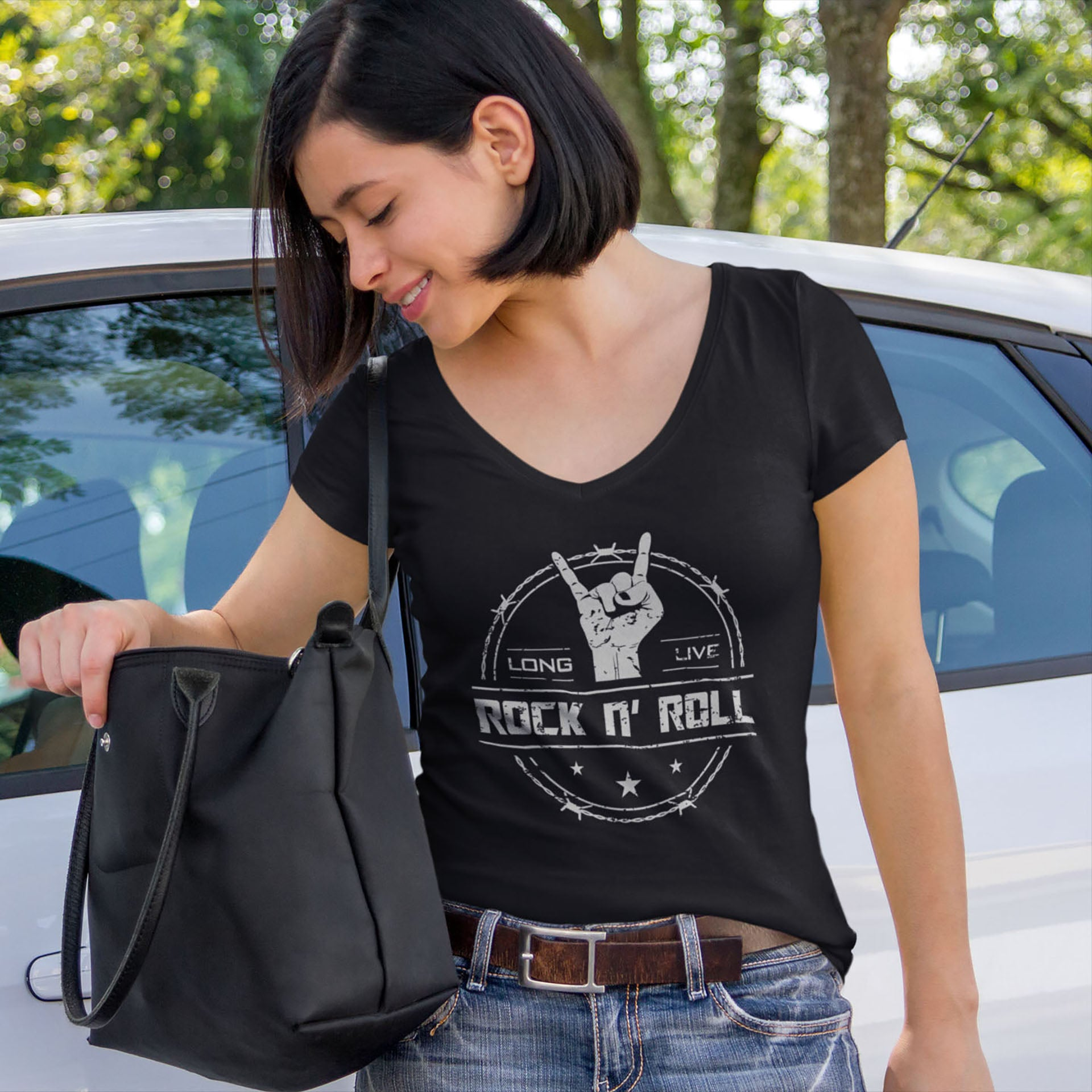 cool long live rock and roll ladies vneck tshirt