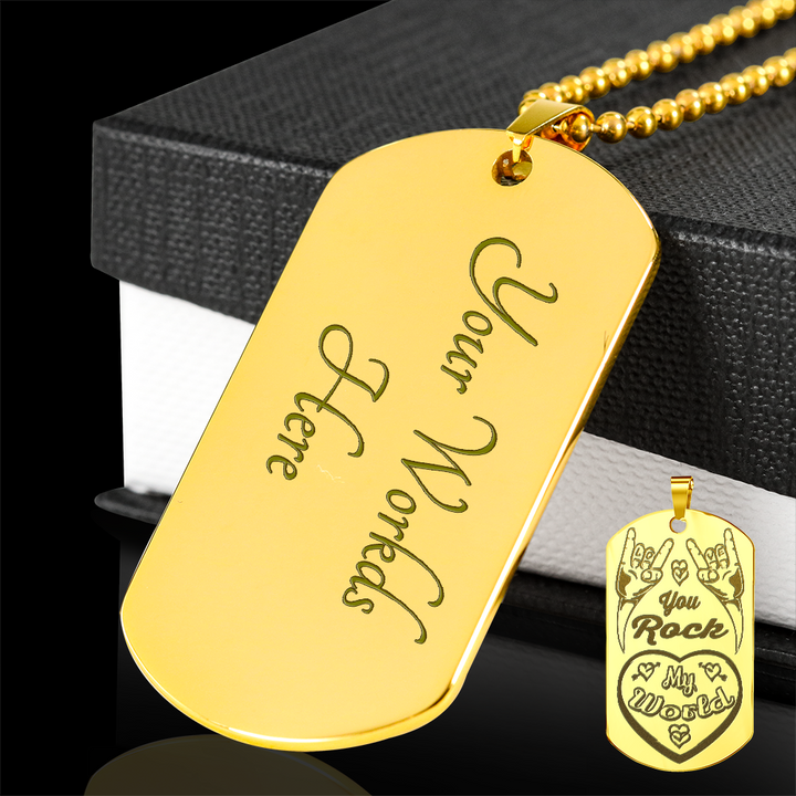 cool you rock my world gold plated laser engraved dog tag