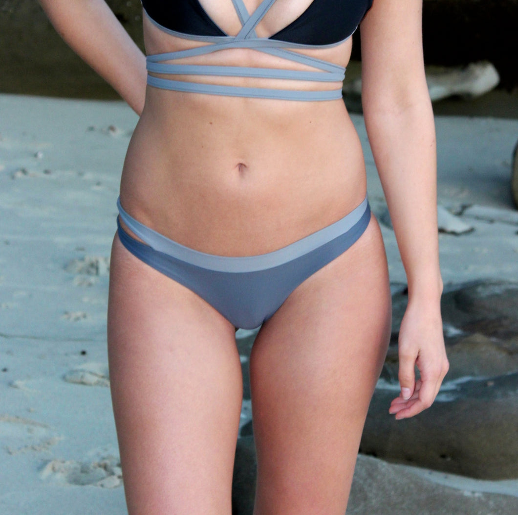 Grey swimsuit bottom with light grey band