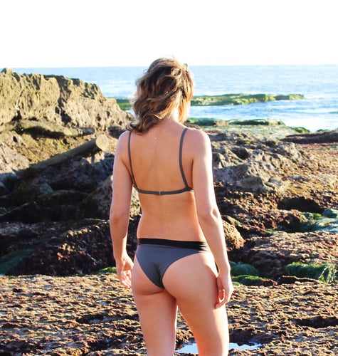 Grey swimsuit bottom with black band
