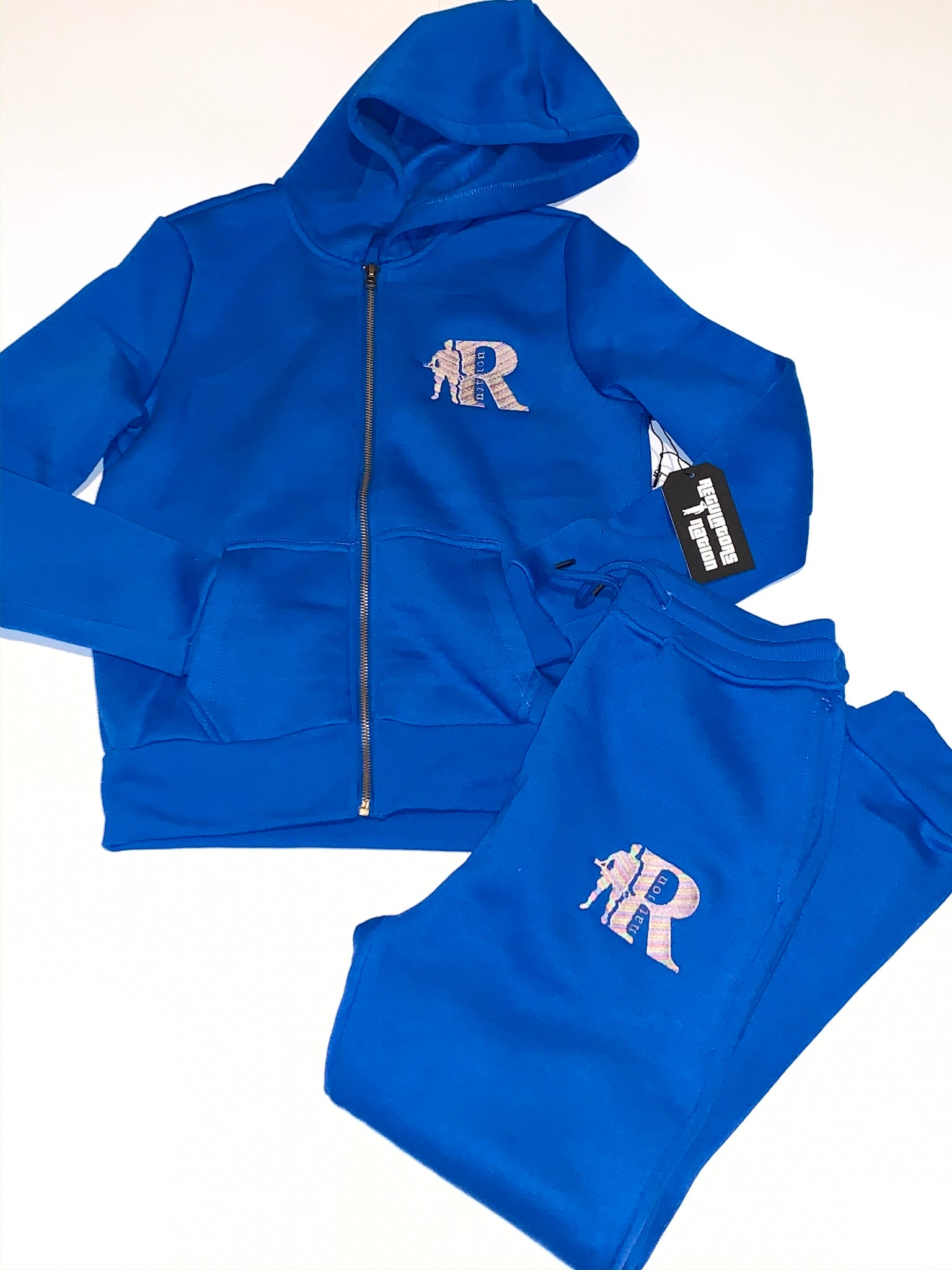 Regulators Nation's KIDS sweatsuit (royal blue & multicolor)