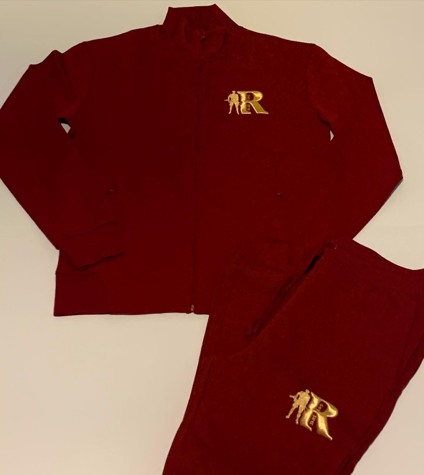 "Regulators Nation ""Performance Pro"" Slim Fit Suit (Maroon and Metallic Gold)"