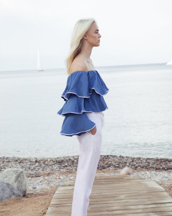 RUFFLE LINEN TOP BLUE
