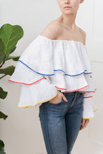 Load image into Gallery viewer, Ruffle Top in White