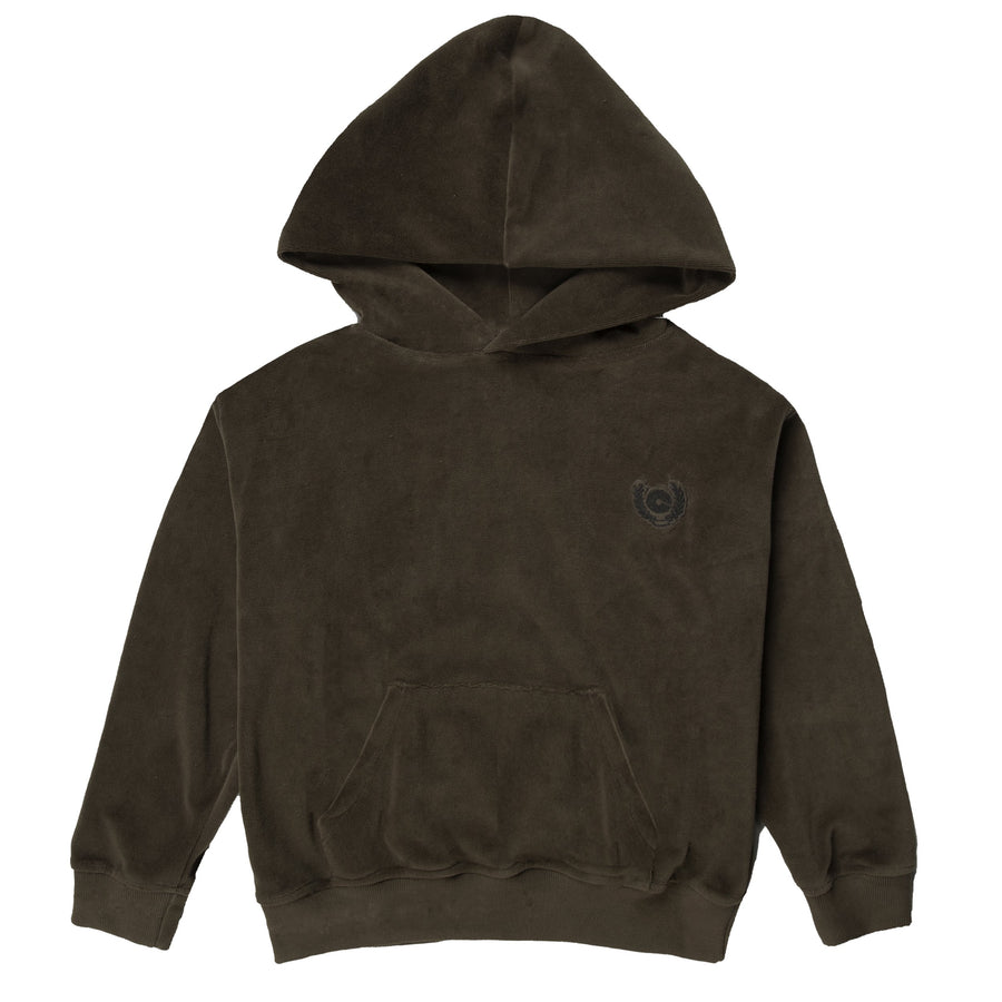 NEW CREST VELOUR HOODIE - FOREST