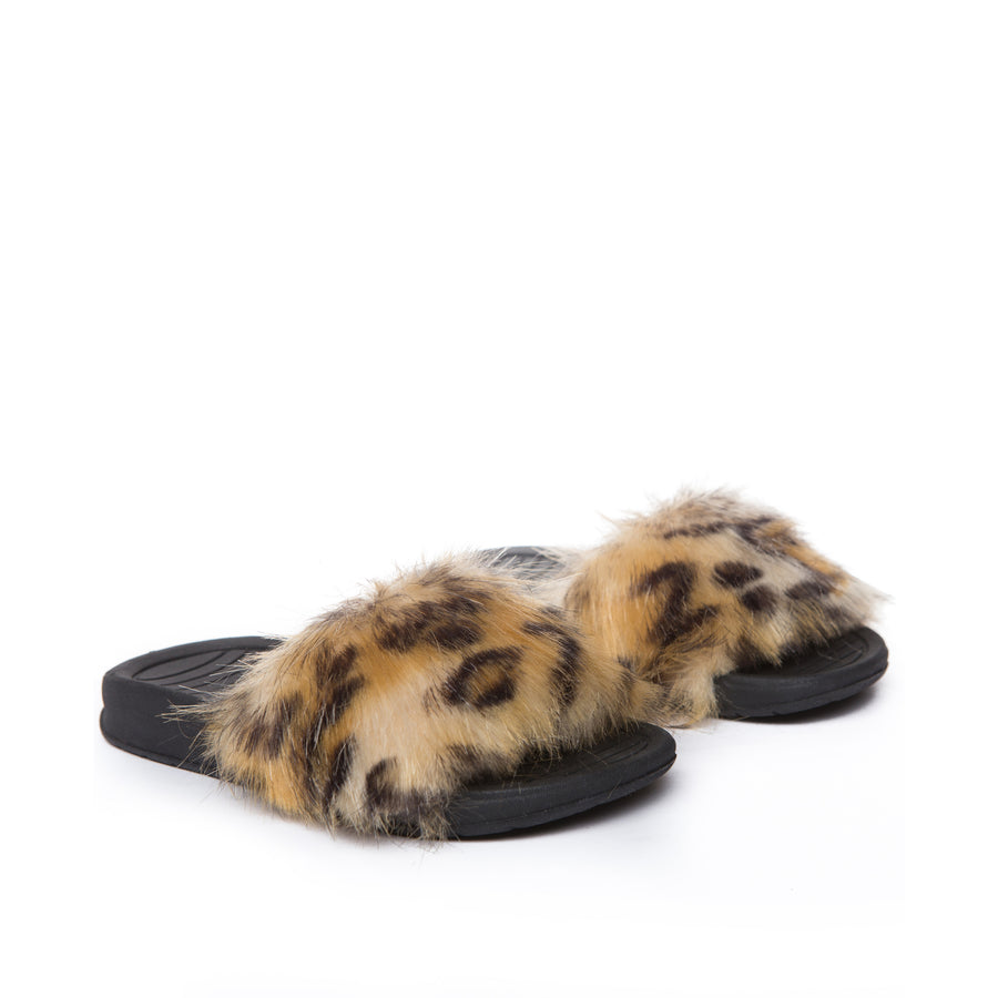 AKID X KIDS SUPPLY FAUX FUR SLIDES  LEOPARD
