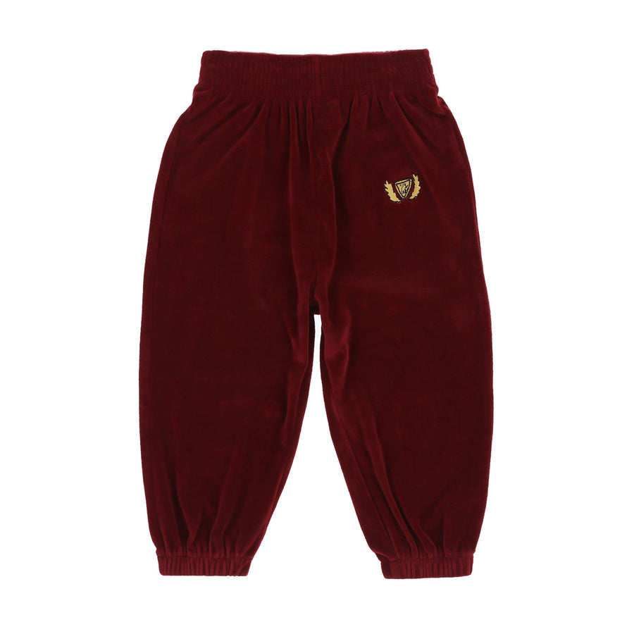 CREST VELOUR SWEATPANTS - RUBY