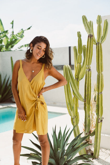 POSITANO LINEN WRAP ~ SAFFRON - Always the Sun Boutique