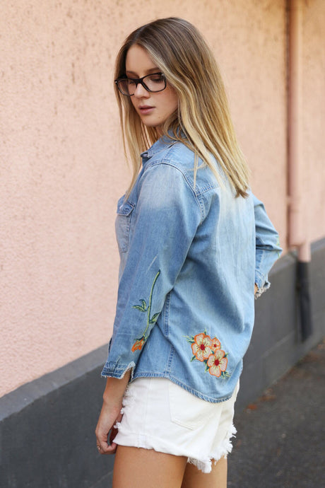 RARE HEARTS DENIM SHIRT - Always the Sun Boutique
