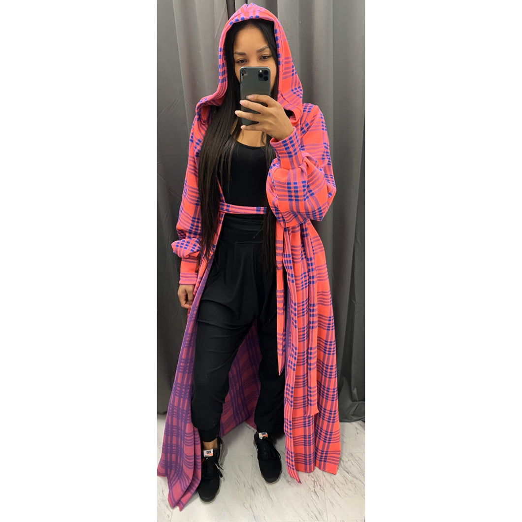 Hot pink and navy plaid over coat