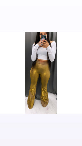 Metallic gold sparkle bell bottoms