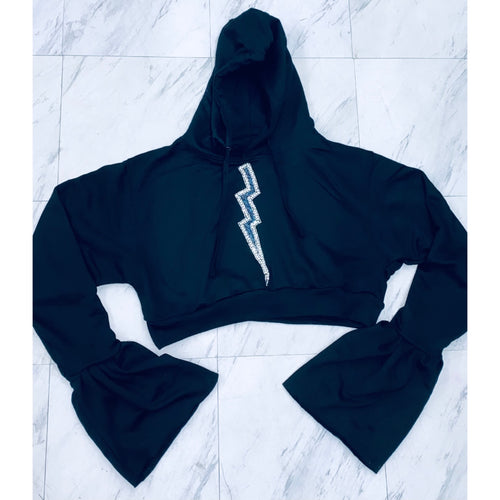 Black crystal lighten hoodie with petal sleeves