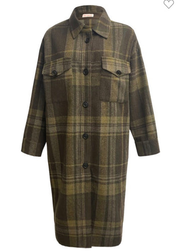 Olive green plaid shacket