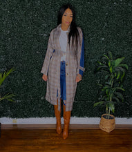 Denim and plaid trench coat