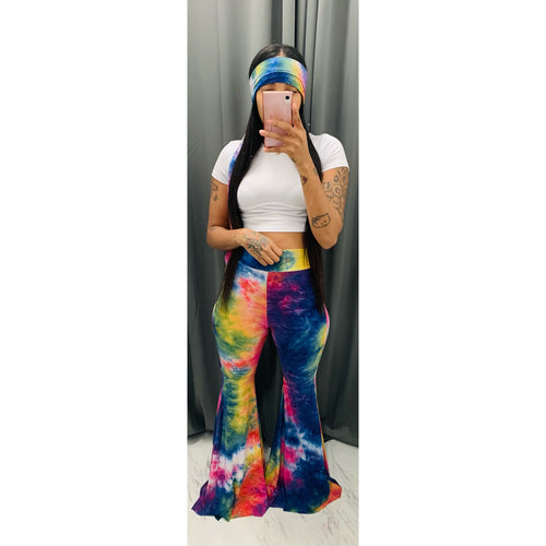 Rainbow dye petal pants and head band