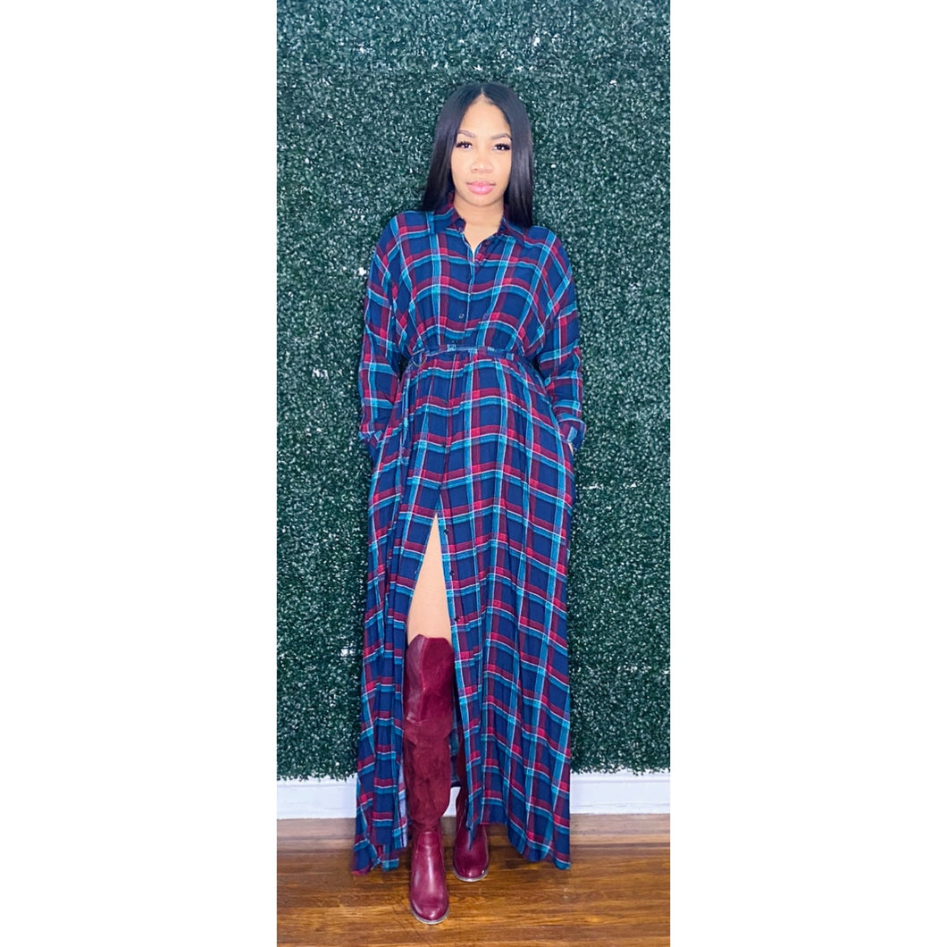 Plaid dress/cardigan