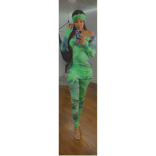 Green  tye dye lounge set