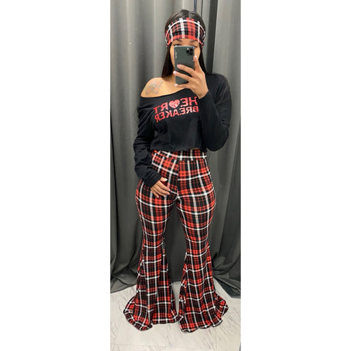 Red and black Plaid  pants and scarf set