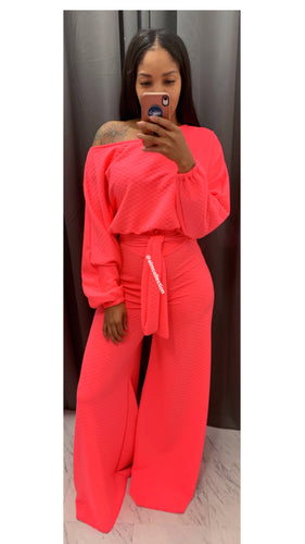 Hot pink Quilted Front tie set