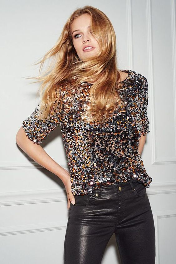 Sequin celebration top with leather trouser