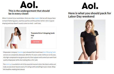 AOL features Yummie Crew Neck Bodysuit and 6-in-1 Shaping Tank.