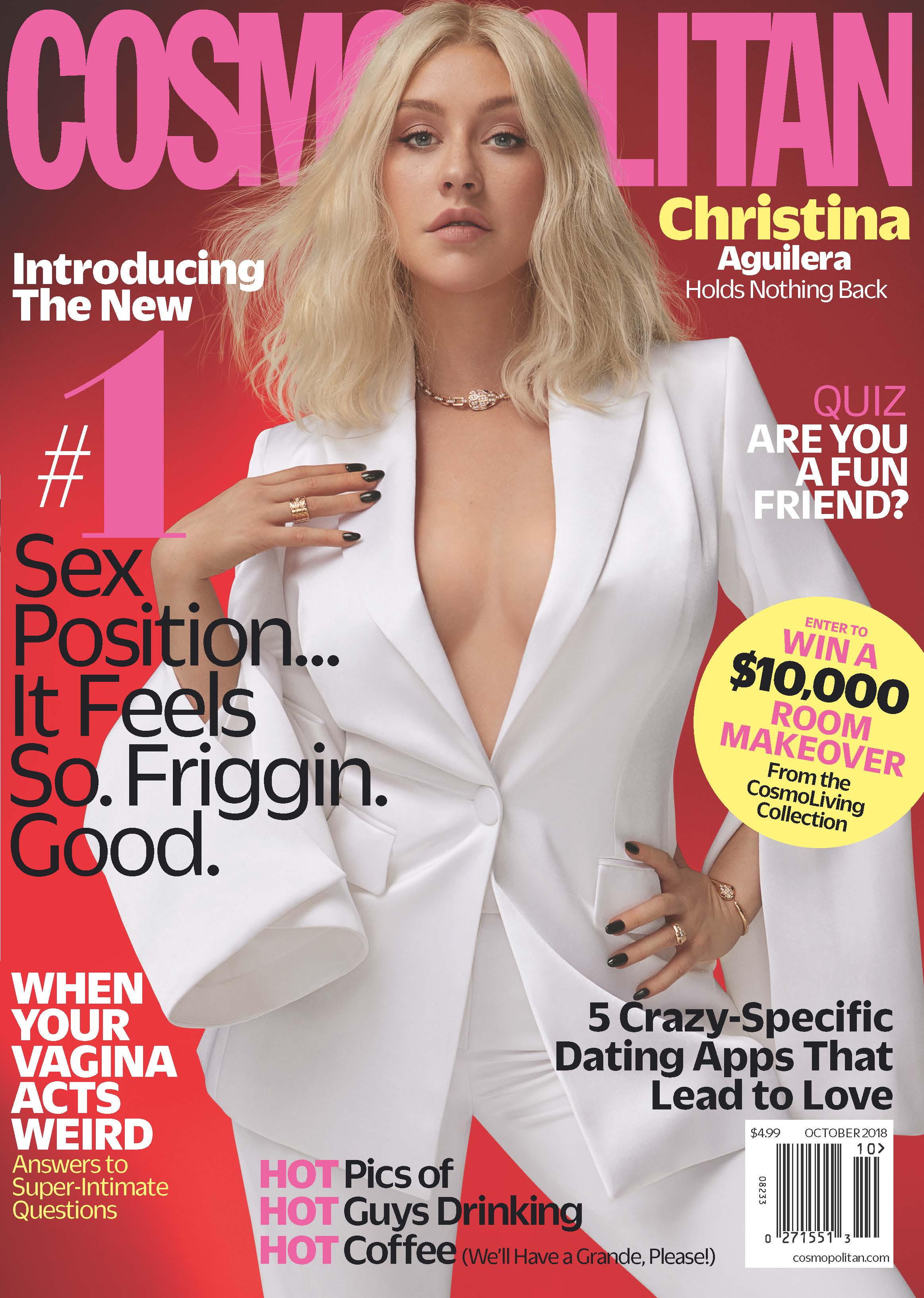Christina Aguilera on the cover of Cosmopolitan wearing a white Yummie body suit.