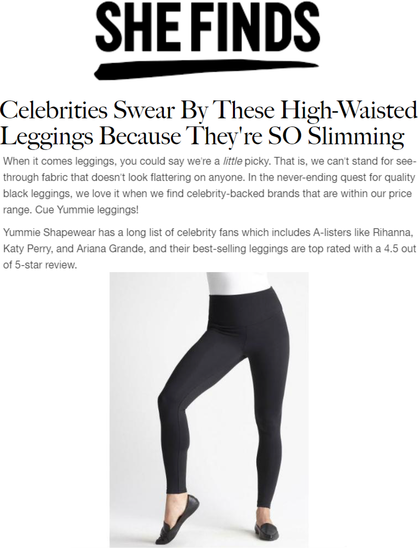 Shefinds.com discusses Yummie leggings in article.