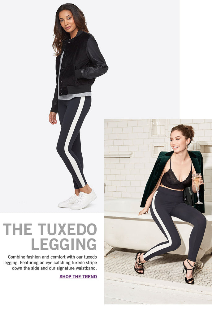 Yummie Ankle Legging with Tuxedo Stripe