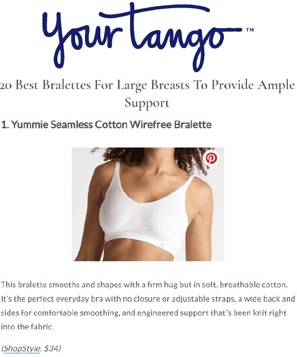 YourTango.com recommends the Seamless Cotton Wirefree Bralette and Audrey Wirefree Day Bra.