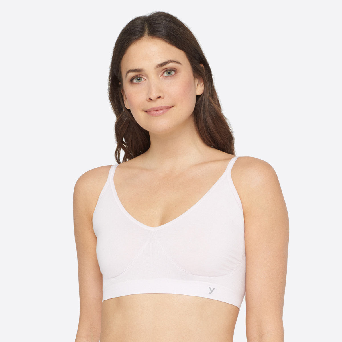 Seamless Cotton Wirefree Bralette in white.