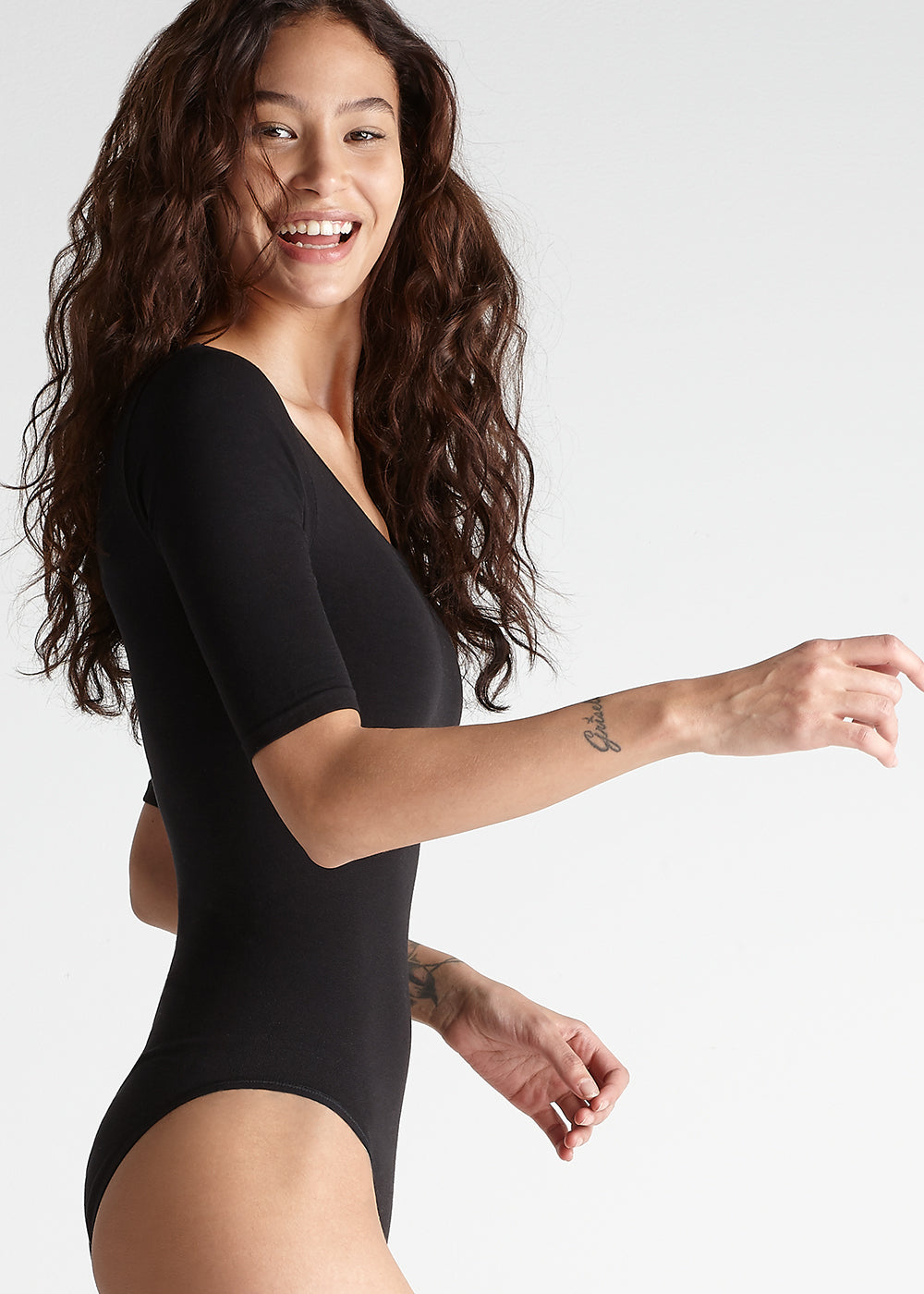 Ballet shaping full black bodysuit