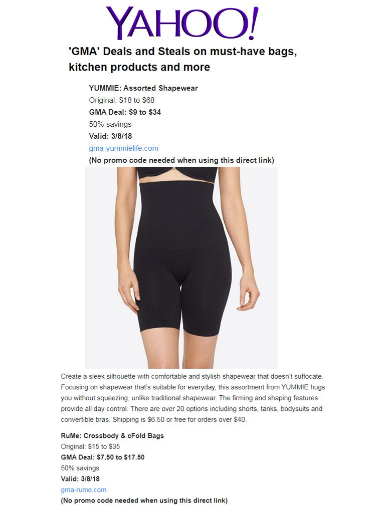 Yahoo regards Yummie's shapewear as a must-have.